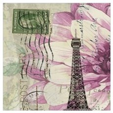 floral vintage paris eiffel tower Canvas Art