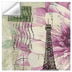 floral vintage paris eiffel tower Wall Decal