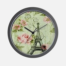 floral vintage paris eiffel tower Wall Clock
