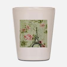 floral vintage paris eiffel tower Shot Glass