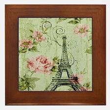 floral vintage paris eiffel tower Framed Tile