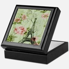 floral vintage paris eiffel tower Keepsake Box