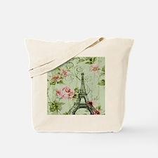 floral vintage paris eiffel tower Tote Bag