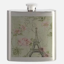 floral vintage paris eiffel tower Flask