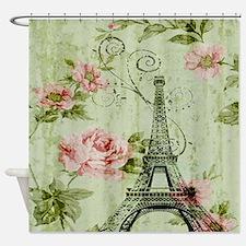 floral vintage paris eiffel tower Shower Curtain
