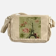floral vintage paris eiffel tower Messenger Bag