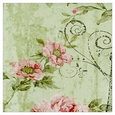 floral vintage paris eiffel tower Poster