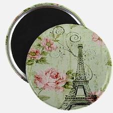 floral vintage paris eiffel tower Magnet