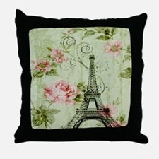 floral vintage paris eiffel tower Throw Pillow