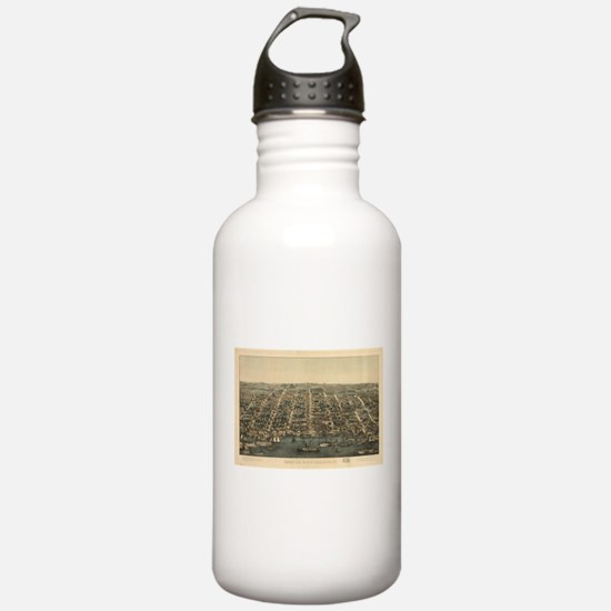 Vintage Pictorial Map Sports Water Bottle
