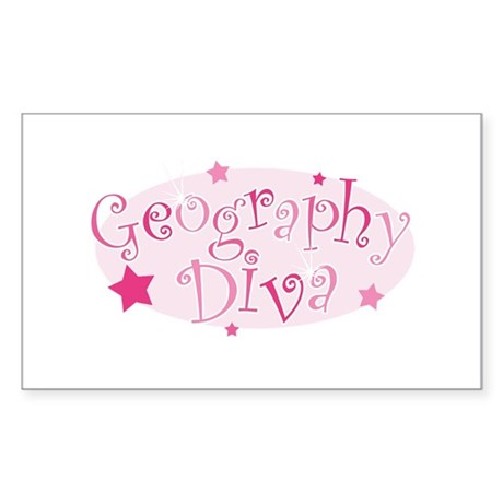 """Geography Diva"" [pink] Rectangle Sticker"