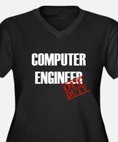 Off Duty Computer Engineer Women's Plus Size V-Nec