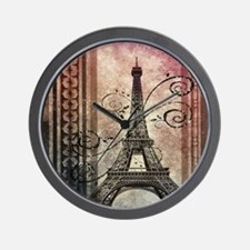 shabby chic swirls eiffel tower paris Wall Clock