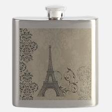 shabby chic swirls eiffel tower paris Flask