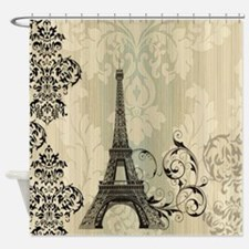 shabby chic swirls eiffel tower par Shower Curtain