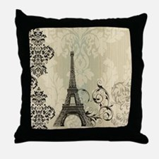 shabby chic swirls eiffel tower paris Throw Pillow