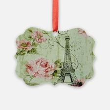 floral vintage paris eiffel tower Ornament