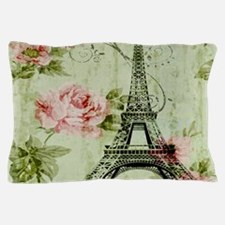 floral vintage paris eiffel tower Pillow Case