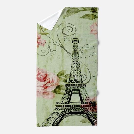 floral vintage paris eiffel tower Beach Towel