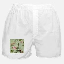 floral vintage paris eiffel tower Boxer Shorts