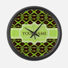 Neon Green Trellis Personalized Large Wall Clock