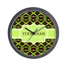 Neon Green Trellis Personalized Wall Clock