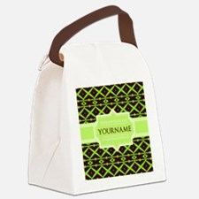 Neon Green Trellis Personalized Canvas Lunch Bag
