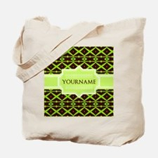 Neon Green Trellis Personalized Tote Bag