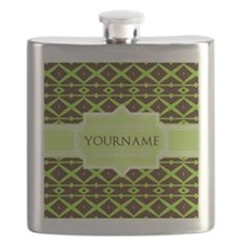 Neon Green Trellis Personalized Flask
