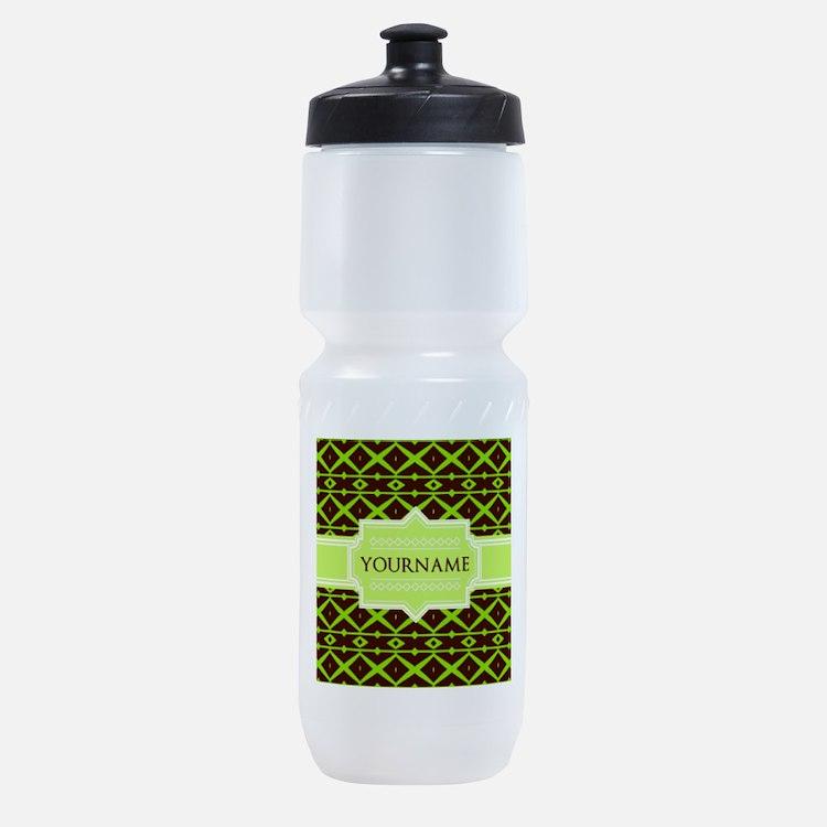 Neon Green Trellis Personalized Sports Bottle