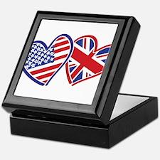 USA and UK Flag Hearts Keepsake Box