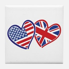 Usa And Uk Flag Hearts Tile Coaster