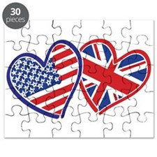 Usa And Uk Flag Hearts Puzzle