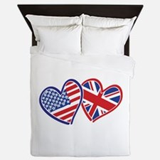 Usa And Uk Flag Hearts Queen Duvet