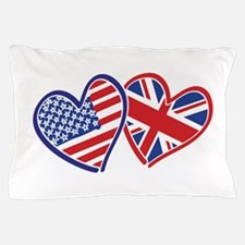 Usa And Uk Flag Hearts Pillow Case