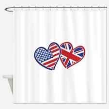 USA and UK Flag Hearts Shower Curtain