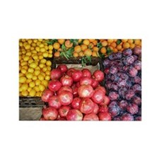 Fruit Stand: Pomegranate & Plums Rectangle Magnet