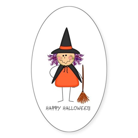 Little Witch Oval Sticker