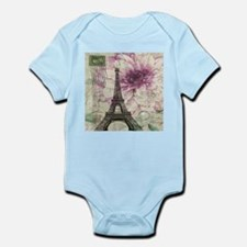 floral vintage paris eiffel tower Body Suit