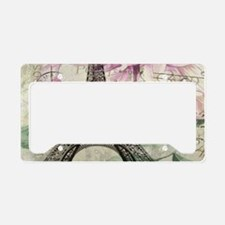 floral vintage paris eiffel t License Plate Holder
