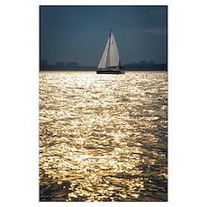 Sailing Golden Waves Poster