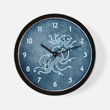 Octopi Blue Wall Clock