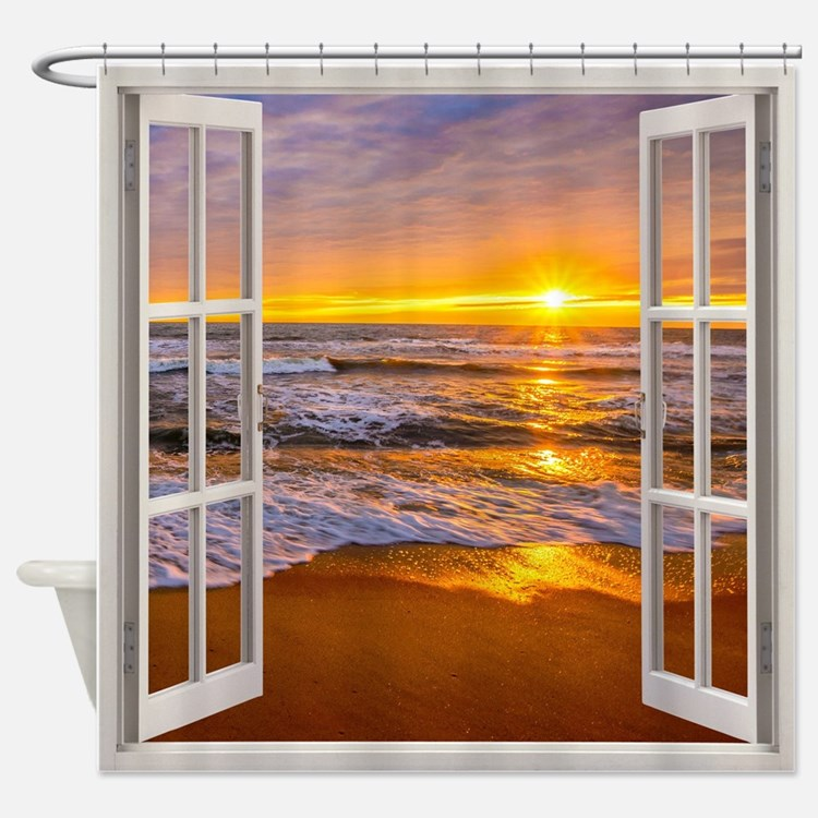 Beach Scene Shower Curtains | Beach Scene Fabric Shower Curtain Liner