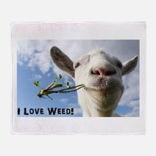 Weed Goat Throw Blanket