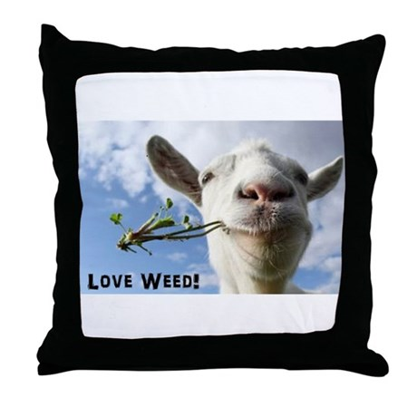Weed Goat Throw Pillow by Admin_CP129251274