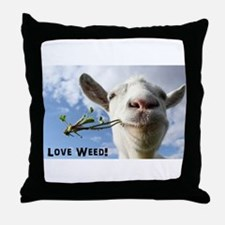 Weed Goat Throw Pillow