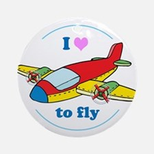 I Heart to Fly Round Ornament