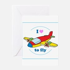I Heart to Fly Greeting Cards