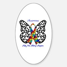 Autism Awareness Butterfly Sticker (Oval)