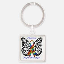 Autism Awareness Butterfly Square Keychain
